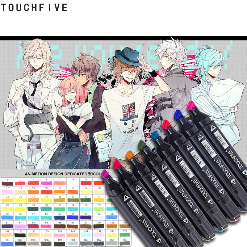 TOUCHFIVE Marker Double Headed Sketch Copic Marker Set 80 Colors Manga Art Markers paint marker for drawing liners art supplies sta 24color copic marker art sketch design marker double head art markers paint marker for office school student art supplies