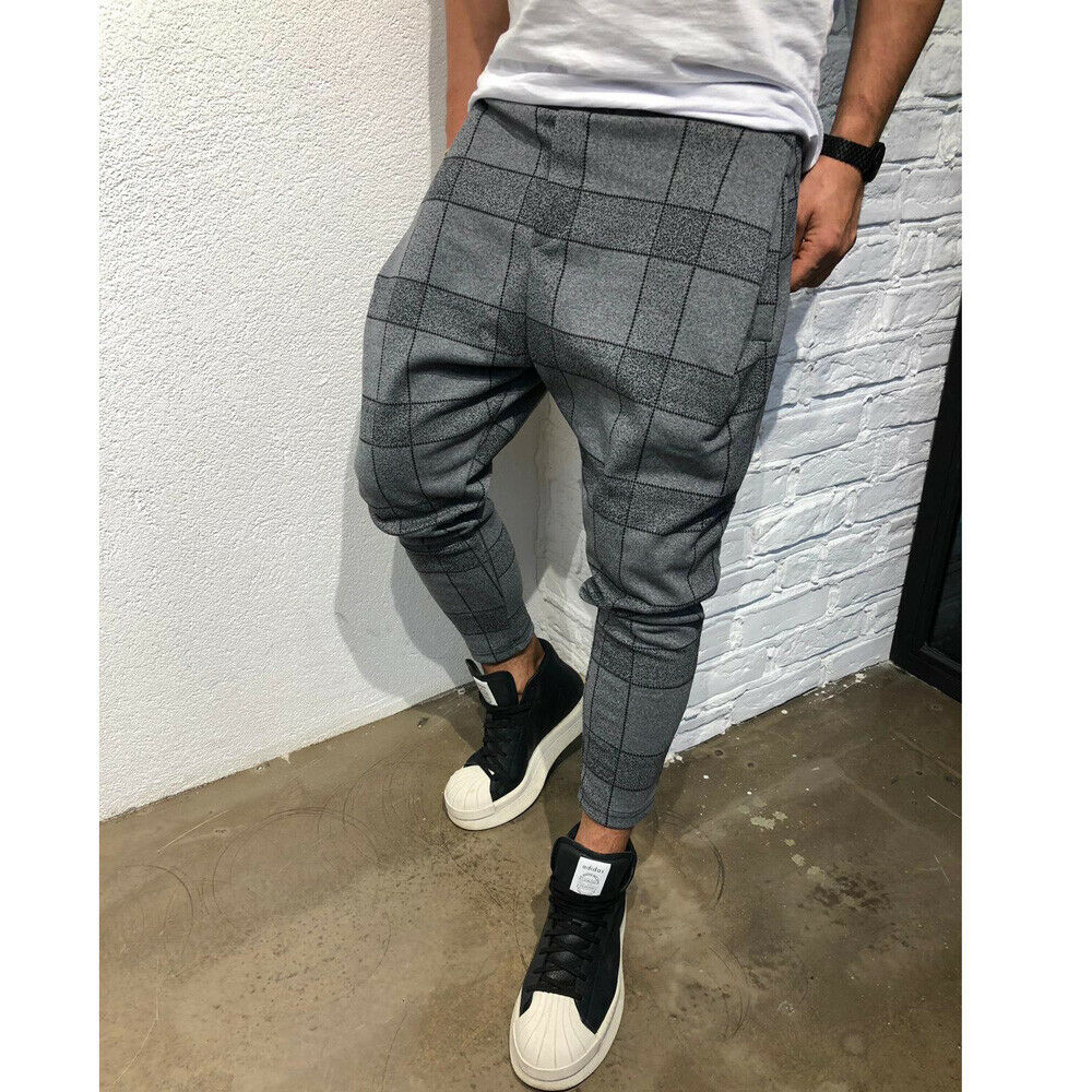 Hirigin 2019 Fasion Men Casual Plaid Pants  Slim Trousers New Long Trousers