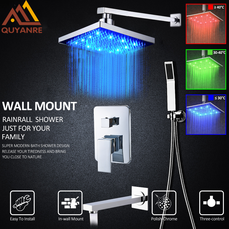 Quyanre US Shipping LED Shower Faucets Set ABS 8