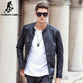 Pioneer Camp 2017 новая мода осень зима мужская кожаная куртка бренд одежды мотоцикл куртки качество мужской кожаное пальто мужчины