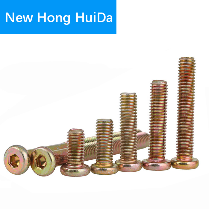 M6 x 16mm Bronze Furniture Connector Bolts With Cap Nuts Joint Fixing Bed Cot