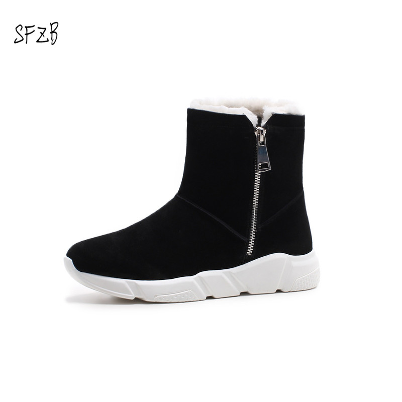 SFZB real cow leather short ankle suede snow boots for women wool fur lined winter shoes with button boots gray black odetina fashion genuine leather fringe short ankle suede snow boots for women wool fur lined winter warm shoes tassels slip on