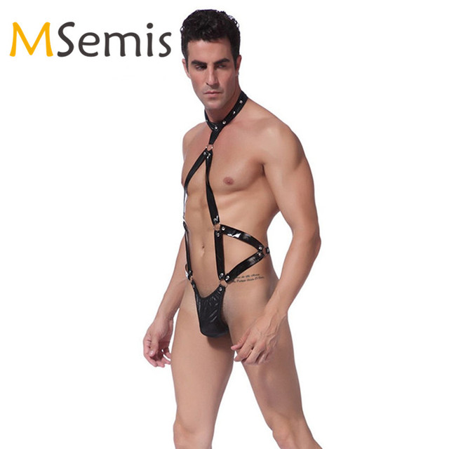 Sexy Mens Full Body Straps Thong Leather Harness Men Underwear Bulge Pouch  Halter Punk Gothic Gay Harness Bondage Restraint Belt