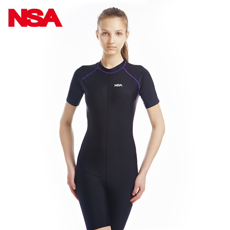 23858e3c821 NSA Short Sleeve Swimwear Women One Piece Swimsuit Men Swimming bodysuit  Competitive Swimming Suit Plus Size Women's Swimsuits -in One-Piece Suits  from ...