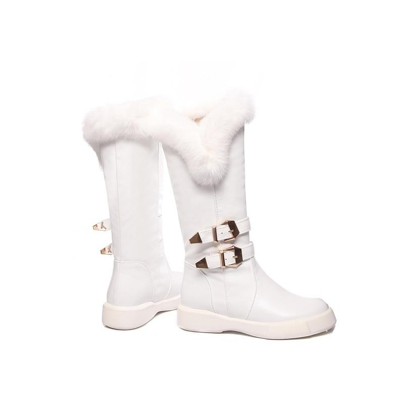 Zapatos Con Nuevas Egonery De Black Gran Metal Tamaño Nieve Mujeres Botas Blanco white Las Invierno Plano on Redonda Punta Decoración Slip 2018 Negro Y 44qxrOnH