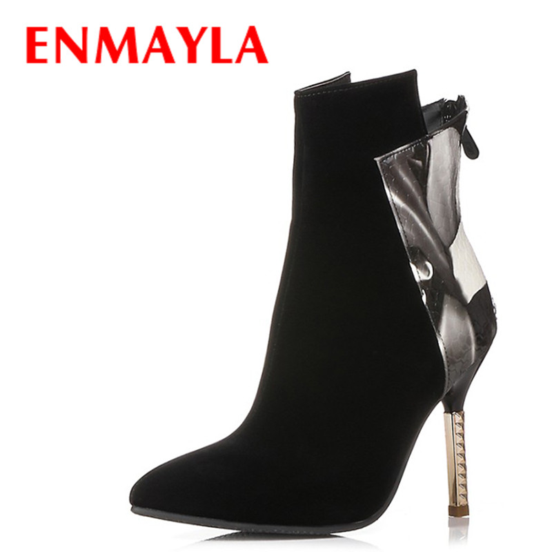 ENMAYLA Fashion Sexy Thin Heels Poined Toe Ankle Boots for Women High Heels Black Multicolor Shoes Woman Party Wedding Boots enmayla autumn winter chelsea ankle boots for women faux suede square toe high heels shoes woman chunky heels boots khaki black