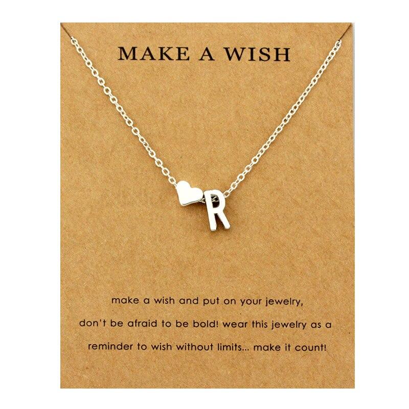 Сердце начальные Подвески ожерелье s персонализированное ожерелье с буквами Имя ювелирные изделия для женщин мужчин аксессуары подруги любовника пара подарок - Окраска металла: NE1672