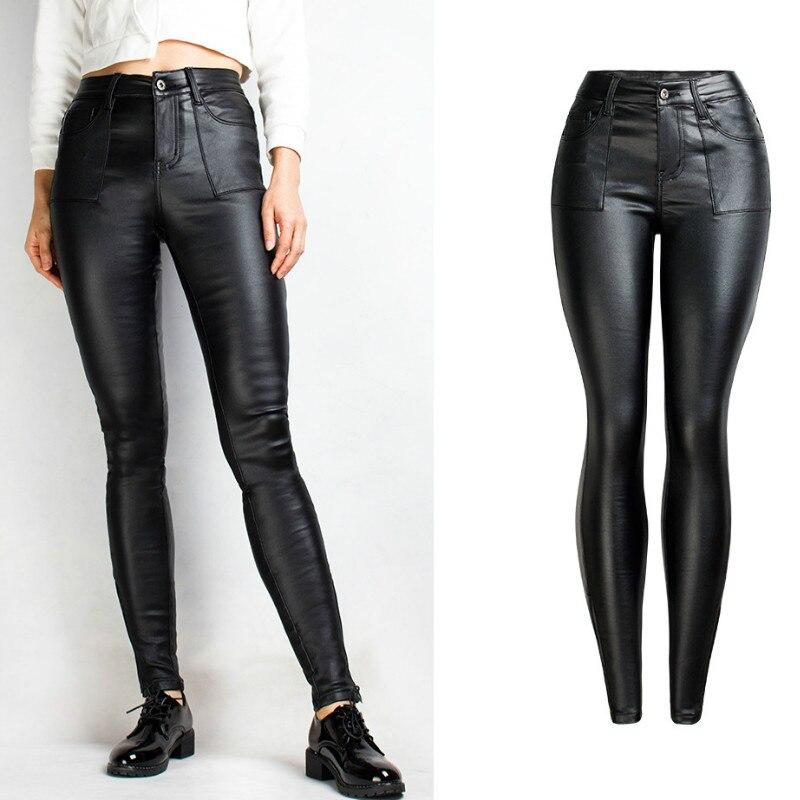 England Big Pockets PU Skinny Pant Women Plus Velvet Keep Warm Winter Black Pants Slim Push Up Leg Opening Zipper Trousers Femme
