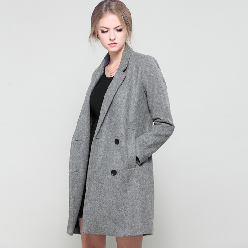 buy gray long wool coat autumn winter new women 39 s double breasted woolen coat. Black Bedroom Furniture Sets. Home Design Ideas