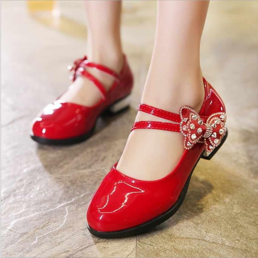 Slyxsh 2017 обувь с красным кожаные туфли для девочек партии красный  детская обувь для вечеринок принцессы 6dff72b70ae8d
