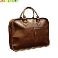 13 Men's handbag Vintage cross section cow Genuine Leather men's Crossbody shoulder Messenger stereotypes briefcase bags