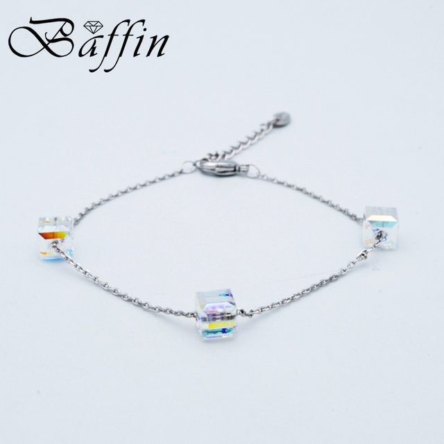BAFFIN Simple Cube Crystals Beads Chain Bracelets Crystals From SWAROVSKI Handmade Knots Lucky Bracelet Silver Color Jewelry