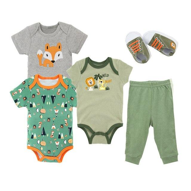 2019 Moda de Nova 5 Pcs Meninos Da Criança Do Bebê Dos Desenhos Animados Romper Macacão Listrado Calças Roupa Do Bebê Outfits Clothes Set Dropshipping