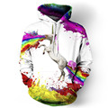 New 2017 Women/Men Rainbow Unicorn hoodie sweatshirts printed animal Horse 3d Hoodies Pullovers colorful Crewneck hoody feminina