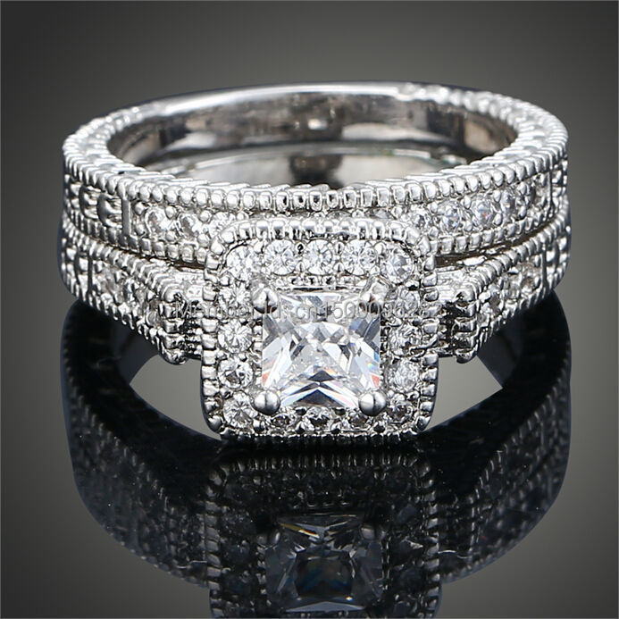 Sz 6 9 Princess Cut White Gold Filled Aaa Cubic Zirconia Cz Wedding Ring Set Bridal Engagement Free Shipping In Rings From Jewelry