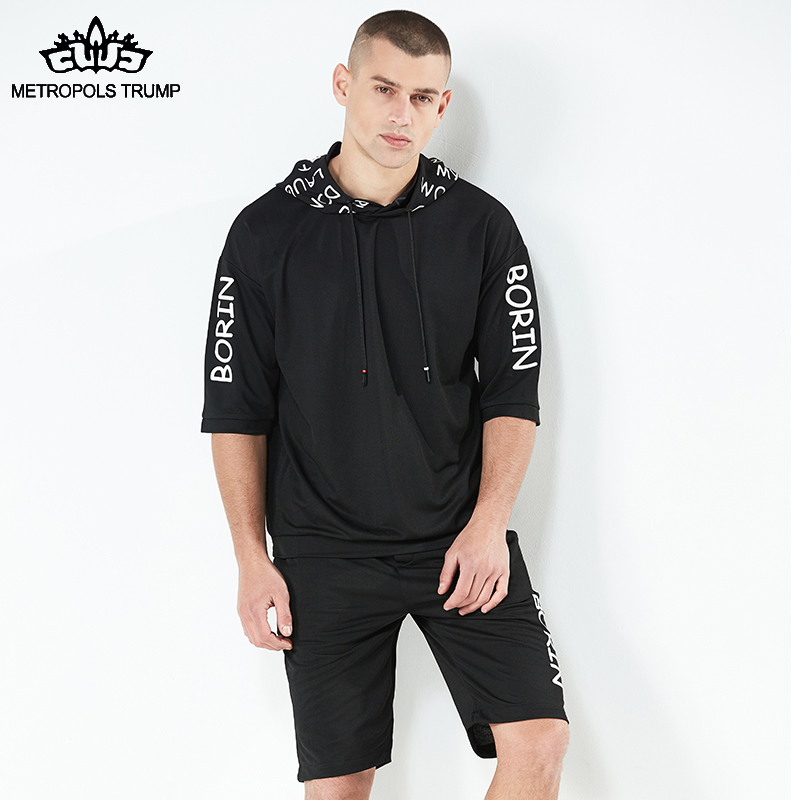 Men Tracksuit Set Mens fashion Brand Casual Short Sleeve hoddies + shorts Male Leisure Outwear black Sets