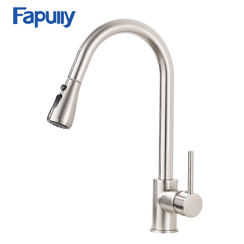 Fapully Pull Out Kitchen Faucet Spray Head Brass Faucet  Brushed Mixer Cold and Hot Single Handle Faucets Tap 502-33N kitchen chrome plated brass faucet single handle pull out pull down sink mixer hot and cold tap modern design