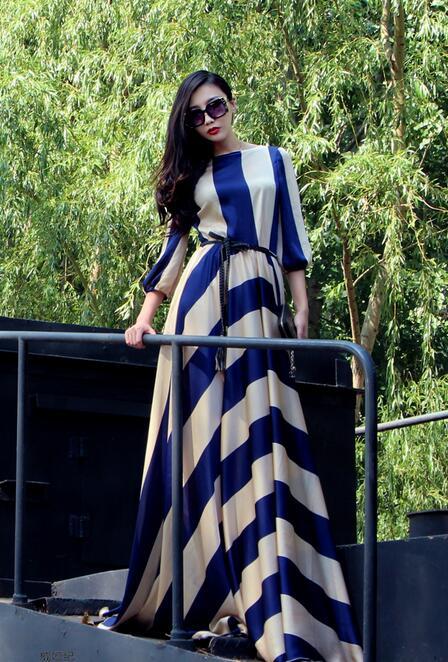 Free Shipping High Quality 2016 Stylish Stripe Printing High Waist Lantern Sleeves Elegant Woman Long Chiffon