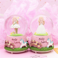 Prayer Angel Music Box Glowing Snowflake Crystal Ball Cute Unicorn Personality Music Box Send Girlfriend Gift Ballet gift CL0105