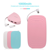 10000mAh Power Bank Candy Portable Usb Charge External Battery Built in data cable 2A Fast Charger For iphone Adapters PoverBank
