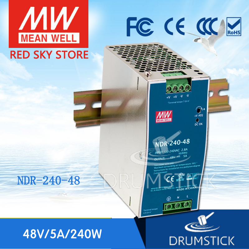 все цены на Best-selling MEAN WELL NDR-240-48 48V 5A meanwell NDR-240 48V 240W Single Output Industrial DIN Rail Power Supply онлайн