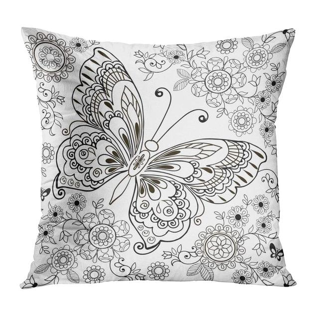 Throw Pillow Covers Adult Butterfly Floral Stresa Coloring Book ...