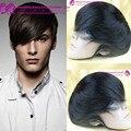 """6 inch # 1B Мужские парик 7 """"x 9"""" человеческих волос ботворезы волос мужской системы волос штук моно база парик индийский реми человеческого волоса парик"""