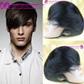 "6inch #1B Mens toupee 7""x9"" human hair toppers hair men's hair systems pieces mono base toupee indian remy human hair toupee"