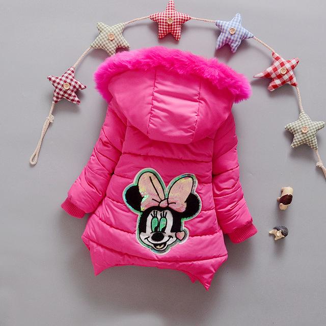 Moda inverno meninas grossas de algodão-acolchoado roupas 0-3 anos de idade do bebê do sexo feminino dos desenhos animados Mickey crianças outerwear quente jaqueta casaco