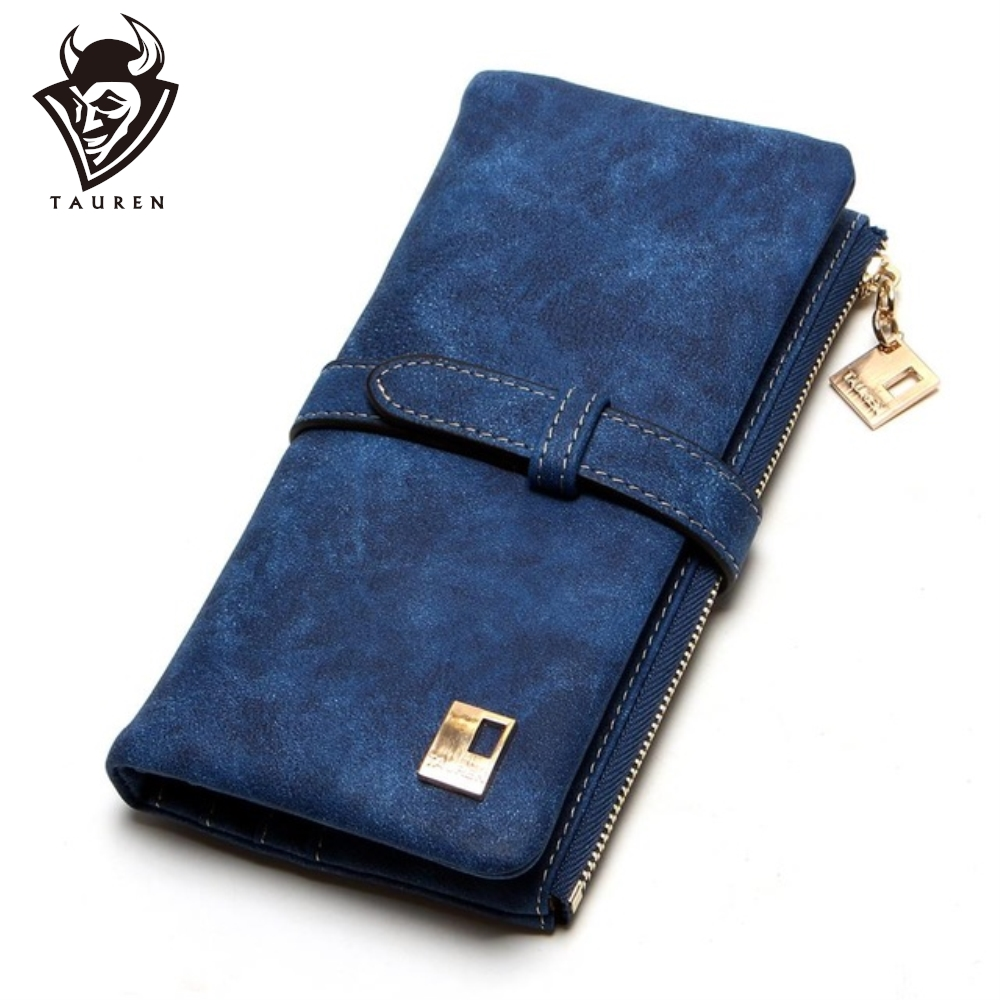 Cheaper!! New Fashion Women Wallets Drawstring Nubuck Leather Zipper Wallet Women's Long Design Purse Two Fold More Color Clutch