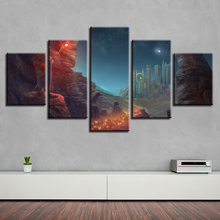 HD Printing Art Pictures Decor Wall Frame 5 Pieces Walking Stick Starry Sky Mountain Night View Canvas Paintings Modular Posters