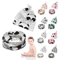 Cartoon baby hat scarf set winter infant cotton hat cap for baby boy girl Beanies Infant Toddler Scarf Collar Hats Set R4