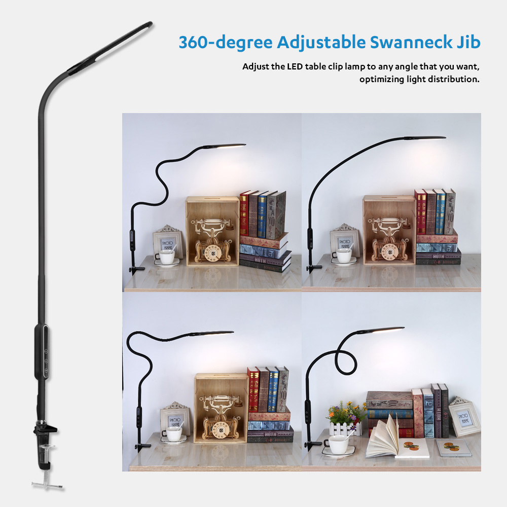 Remote Control Dimmable LED Table Read Clip Lamp Multipurpose Eye-protection Touch Control Desk Lamp 5 Levels Brightness & Color