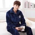 El más nuevo Invierno ropa para hombre acolchado pijamas set Camisón de franela de los hombres más el tamaño de manga larga pijamas hombres pijamas hombre 3XL