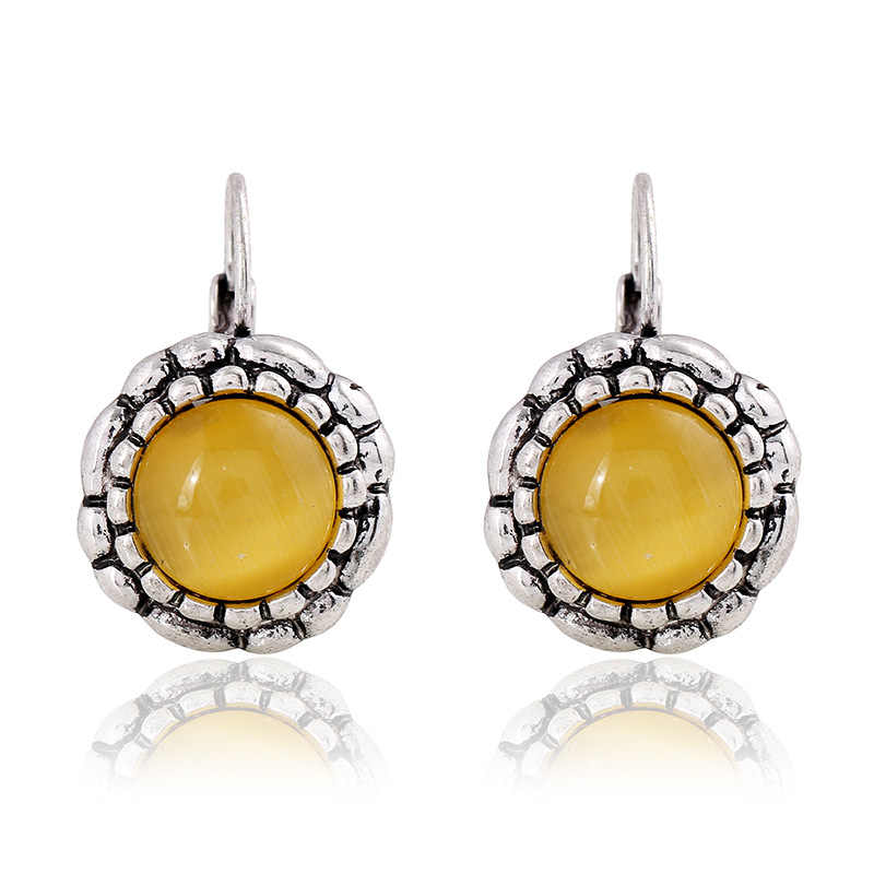 Bohemia Vintage Sunflower Yellow Cat's Eye Stone Round Dangle Earrings Ancient Silver Zinc Alloy Earrings For Women Jewelry Gift