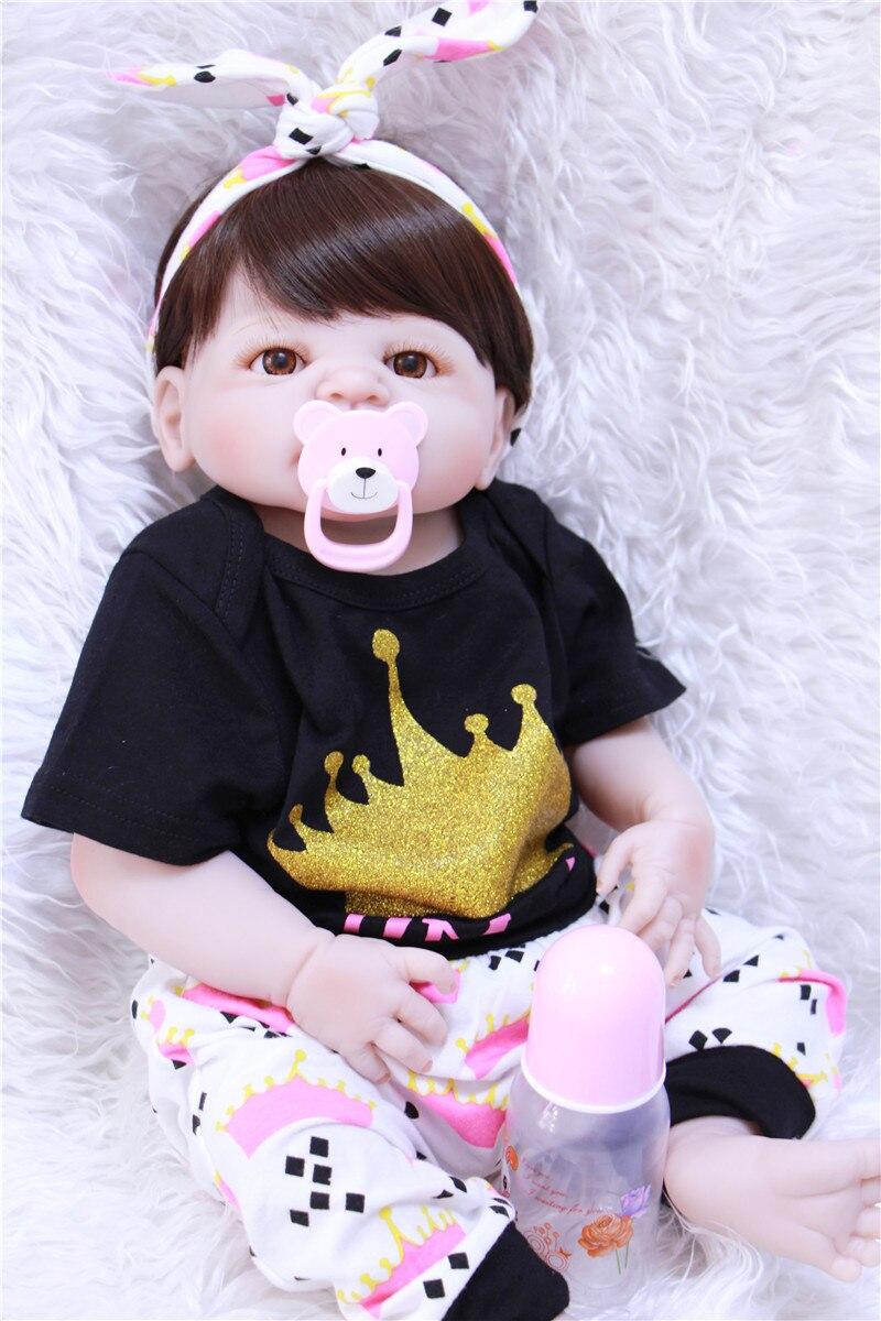 Full Body Silicone Reborn Babies Doll Toy 22″55cm baby girl doll reborn for Child Birthday Gift Present bebe alive girl reborn b
