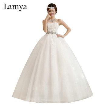 LAMYA Crystal Wedding Dresses Fashion Elegant Ball Gown Large Bow Bridal Gowns Sleeve Lace Strapless Mermaid Up