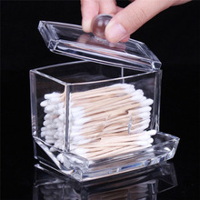 hot deal buy high quality environmental protection transparent cotton swabs stick storage box makeup toiletry case garden makeup organizers