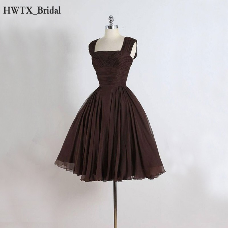 US $85.32 21% OFF|Chocolate 1950s Short Bridesmaid Dresses For Wedding  Party 2018 Prom Ball Gown Plus Size Corset Chiffon Wedding Guest Dress-in  ...