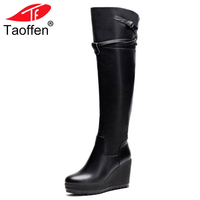 TAOFFEN women real genuine leather wedge over knee boots platform long boot winter warm botas footwear shoes R7524 size 34-39 bacia russian original design boots knee high platform boot genuine leather quality shoes handmade footwear women botas vc001