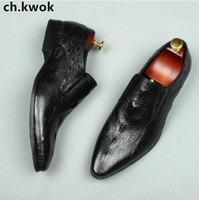 CH KWOK Crocodile Leather Mens Dress Wedding Oxfords Slip On Male Business Suits Tuxedo Oxfords Spring