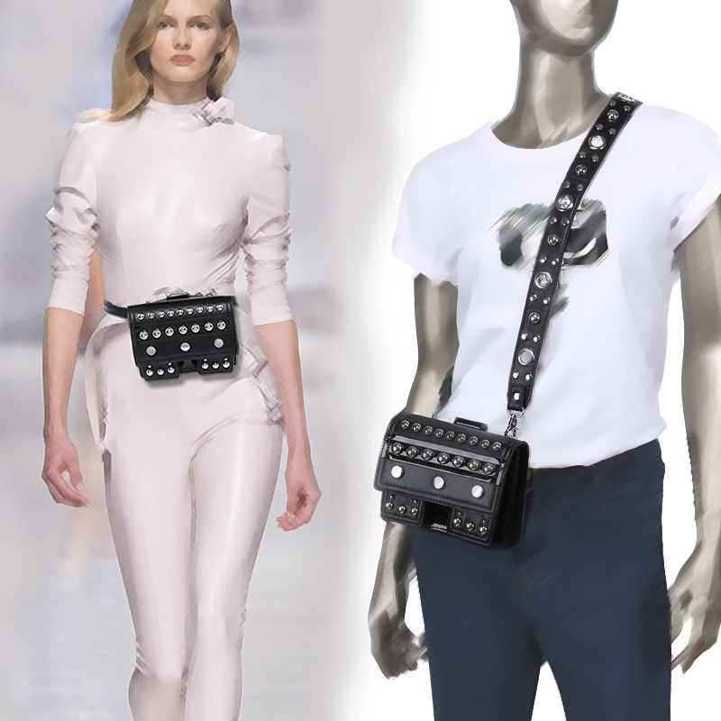 FUNMARDI Модные сумки на талию с заклепками для Женщин Поясная Сумка Женская Сумка кросс-боди из PU кожи небольшой телефон женские сумки на плече WLAM0170
