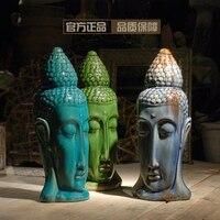 Винтаж керамические статуи Будды Таиланд головы Будды фигурка домашнего декора ремесел украшения комнаты объект вход фарфоровая статуэтк