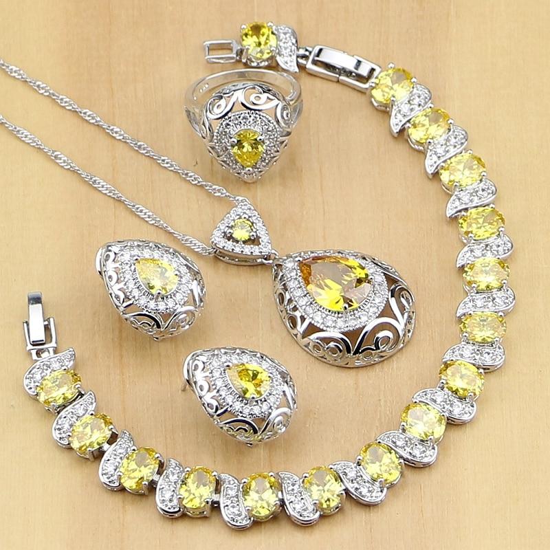 925-Sterling-Silver Jewelry Necklace-Set Earrings Cubic-Zirconia Bracelet Yellow Drop