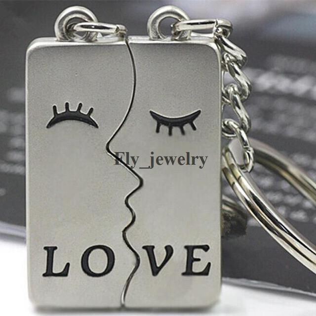 05226675e3 Love Broken Heart Kiss Keyring 2PCs Lovers Couples Keychain Wedding Party  Jewelry Valentine's Day Gift