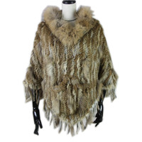 2019 new Real Knitted Rabbit Fur Poncho raccoon fur trimming rabbit fur Shawl with Tassels and pocket Wrap women