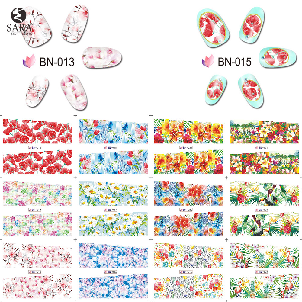 48PCS Colorful  Pretty Flowers/Sexy Lady Women Sticker Nail Art Water Decals Nail Transfer Stickers Random Designs SANJ216 colorful flowers water transfer nail