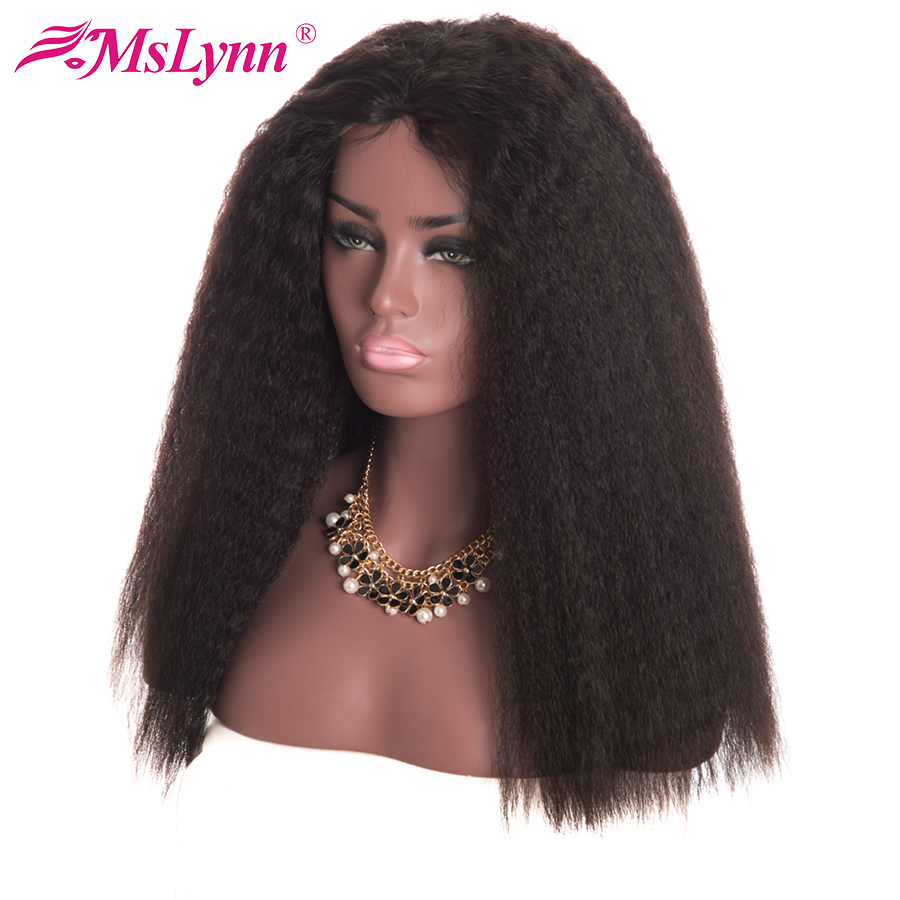 Mslynn 13x4 Lace Front Human Hair Wigs For Women Brazilian Kinky Straight Hair Lace Wig With Baby Hair Remy Hair Natural Black-in Human Hair Lace Wigs from Hair Extensions & Wigs    1