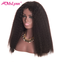 Mslynn Dantel Ön İnsan Saç Peruk Brezilyalı Kinky Düz saç Dantel Peruk Bebek Saç Sigara Remy Saç Doğal Siyah Ile