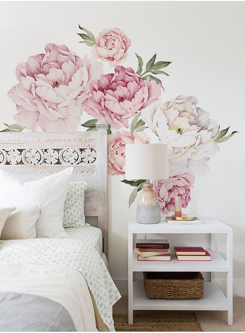 Us 16 0 Pink Modern Home Living Room Decor Wall Art Peony Flowers Wall Sticker Mural Diy Art Bedroom Decoration Wedding Accessories In Wall Stickers
